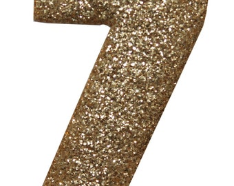 ID #8637 Number #7 Seven Shiny Metallic Iron On Applique Patch