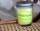 Beeswax candle in glass jar - French Vanilla, 8 oz Organic Beeswax from Local Supplier