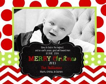Chevron Christmas  Cards- chalkboard