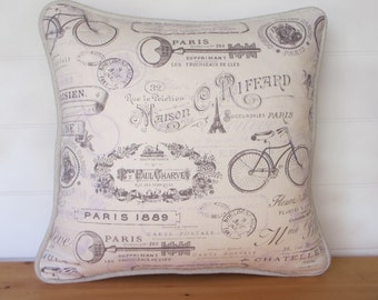 French Country Pillow Cover Red Toile by fortsofHomeDecor
