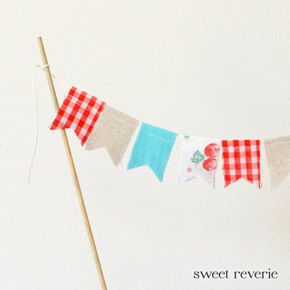 mini bunting wedding cake topper cake topper bunting mini vintage fabric flag by asweetreverie 17390