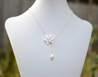 White Gardenia and Pearl Drop Necklace, White Flower necklace, Gardenia Necklace, White Bridal Necklace