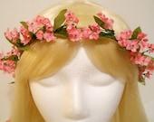 Flower Crown, Head Wreath, Small Pink Flower, for Weddings, Flower Girl, Bridal, Hair Accessory, Romantic, Tiny,Halo, Garland, Kawaii, Nymph