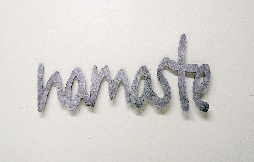 Namaste metal word wall decor other words colours for Word wall art