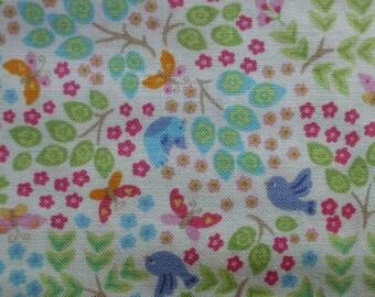 SALE / Birds butterflies flowers/ bird in bush cream / Makower owls / patchwork quilting / fat quarter