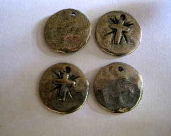 4 Antique Pewter Ancient Disc Pendant with Cross