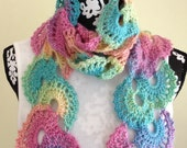Crocheted Scarf, Crochet Multicolor Scarf, Winter Scarf, Women's accessories
