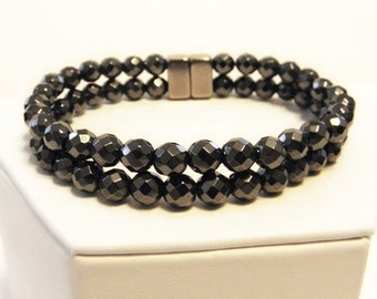 Double stranded magnetic hematite bracelet - layered bracelet - custom sized