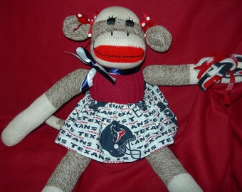 Houston Texans Football Brown Red Heel Sock Monkey Girl Doll