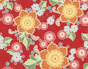 Flutter Main Red by The Quilted Fish, 1 Yard Cut, Riley Blake Designs Fabric, Floral Red Fabric