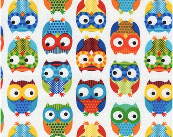 Bright Owl by Alice Kennedy White Half Yard Cut, Timeless Treasures, Owl Fabric