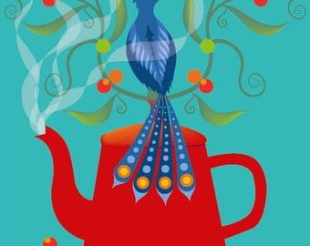 Red Hot Teapot - Folk Art print