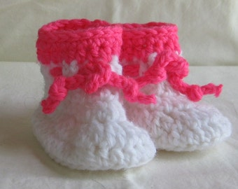 Baby Booties Hand Crochet Peppermint White and Pink