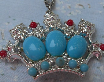 Pendant on Chain Queen's Crown Jewels to Wear When Serving Tea Silver with Turquoise and Coral Summer Stones