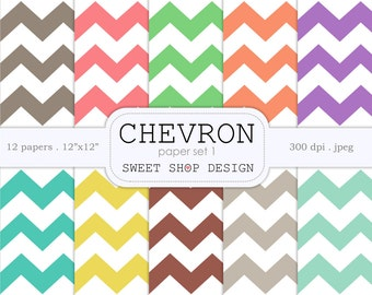 Digital Paper, Printable Scrapbook Paper Pack, 12x12, Chevron N01, Set of 10 Papers