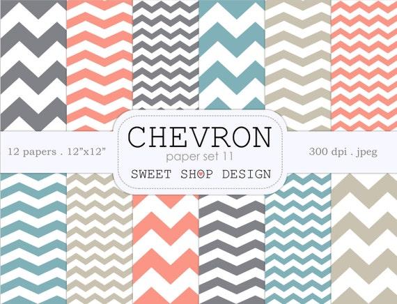 Digital Paper Printable Scrapbook Pack Chevron N11
