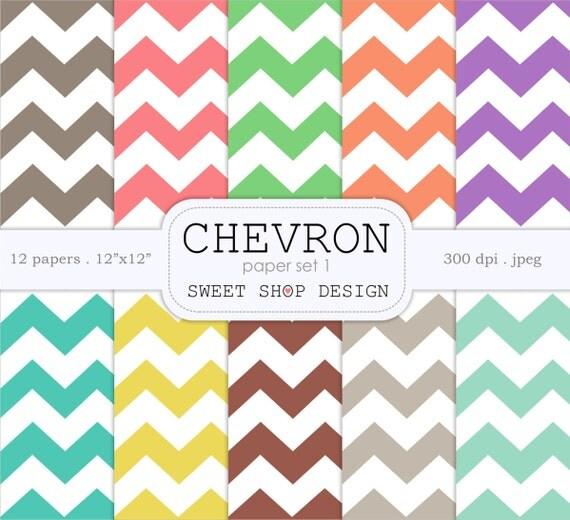 Digital Paper Printable Scrapbook Paper Pack 12x12 Chevron N01