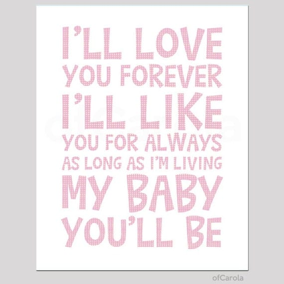 Items Similar To Iu0027ll Love You Forever Quote Wall Art Print, Child Kids  Room Decor Message Boys Girls Baby Nursery Love Art, Pastel Pink White  OfCarola ...