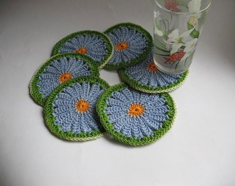 Crochet Coasters in blue Daisy Camomile Set of 6  Drink Mats Flower  Doilies Cotton
