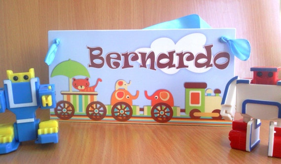 Personalized cute baby boy cho cho train door name by kasefazem for Childrens bedroom door name plates