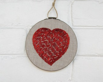 Beaded Embroidery Hoop Art - Red Heart Wall Art - Hand Stitched Beaded Art - Embroidered Heart Art - Love Wall Decor - Cotton Anniversary