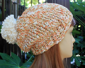 Hand Knit, 100 Percent Organic Cotton, Soft, Nubby, Cream, Orange and Lime Green, Slouchy, Beanie/Beret Hat with Large Cream Pom Pom