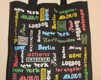 WORLD TRAVELER TOTE // Canvas Tote Bag 80's Library Bag Purse Shopper World Cities Overnight Carry All Carry On New York Paris London Rome