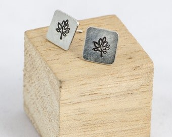 Sterling silver square earrings with trees