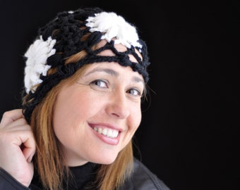 Crochet Beanie, laced with flowers in black and white, Made to Order