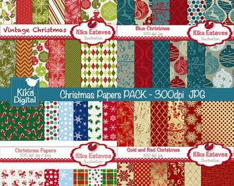 Christmas Digital Papers Combo - Scrapbook , card design, invitations, paper crafts, web design - INSTANT DOWNLOAD