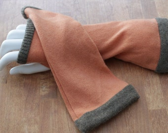 Orange and brown cashmere fingerless gloves