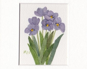 Purple Tulip Group 5x7 Matted Original Watercolor by Wandas's Watercolors
