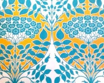 Joel Dewberry Fabric - 1 Fat Quarter Botanique - Leafy Damask in Teal / Golden Hour Palette (Red/Orange & Teal) ships from Australia