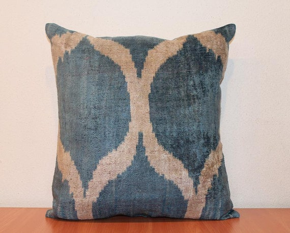 Velvet Ikat Pillow - Handwoven Blue Beige Decorative Pillow For Couch 15 x 16 Free Shipment Delivered within 1-3 Days by FEDEX