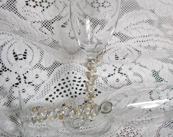 Beaded Wedding Champagne Toasting Flutes Glasses Stemware in Champagne, Ivory and Clear Swarovski Crystal, Pearls and Glass beads