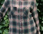 Vintage Sheer Plaid Button Down Shirt Size M L