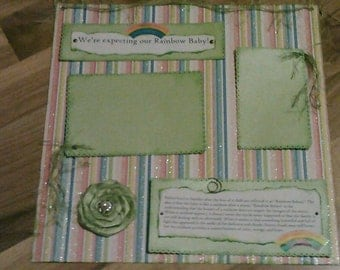 1 12x12 Premade Scrapbook Page Layout Little Baby Rainbow Baby  Pregnancy Baby Girl or Baby Boy