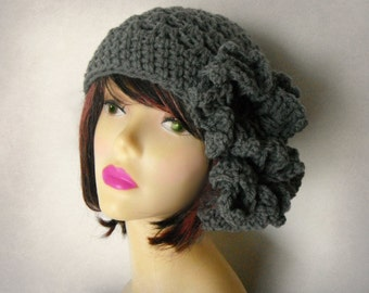 Gray  Crochet Hat Womens Beanie Hat Hat for Women, Winter Hats