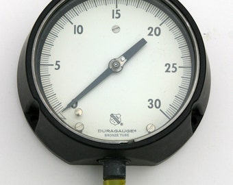 "Antique Vintage Rare Larger Size Black 6"" Pressure Gauge Industrial Size Photo Props, Rare Steam Punk Collector, Made Very Well"