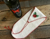 Vintage Up-Cycled Shoe Mitten / Wine Bag / Holiday Gift Bag