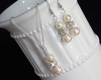 Bridesmaid Ivory/Cream Pearl Jewelry Set, Pearl Rhinestone Necklace, Pearl Rhinestone Earrings, Bridesmaid Jewelry, Bridesmaid Gift