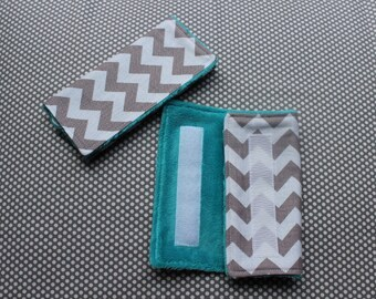Car Seat Strap Covers: Grey Chevron with Blues/Greens