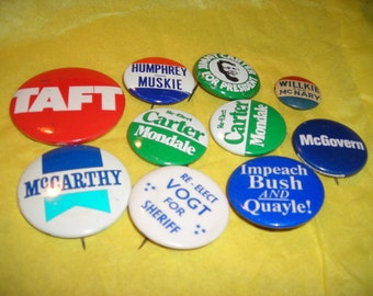 Political Buttons...Eugene McCarthy.... Wendell Willkie....Antique Campaign Buttons...Taft...Carter...Free Shipping