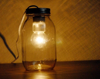 Big Sale!!! Modern Mason Jar Light Clear, Upcycled Mason Jar Table Lamp, Mason Jar Lighting, Mason Jar Industrial Light, Industrial Lighting