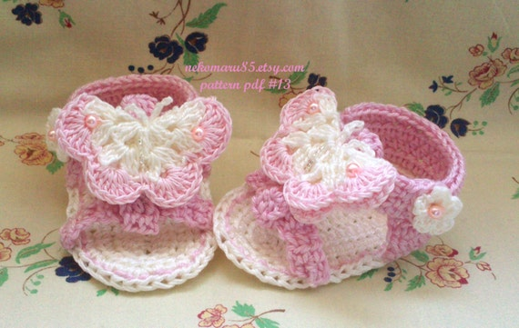 Crochet Sandals with Butterfly for Baby - pattern pdf 13 - Permission to Sell Finished Items