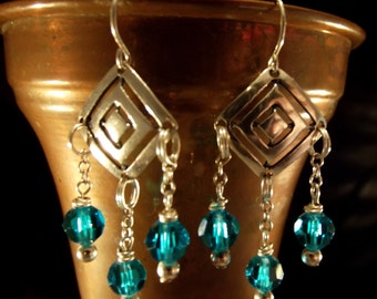 Earrings Sterling Silver Handmade Vintage Geometric with Faceted Crystal Drops Elegant Exotic Gypsy Boho Runway Day to Evening