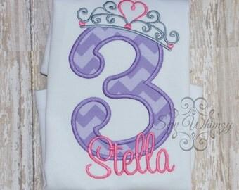 Princess Number Birthday shirt- Crown number shirt- Girl's Princess Birthday Shirt- Monogram Princess Shirt- Cinderella- Sofia- Rapunzel
