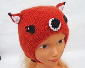 Handknitted Fox Hat, Fox hat  for Children, Orange Bonnet, UK Seller