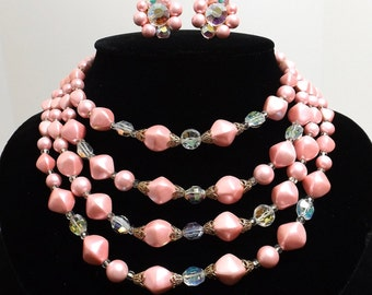 Four Strand Pink Pearl and Aurora Borealis Necklace and Matching Earrings