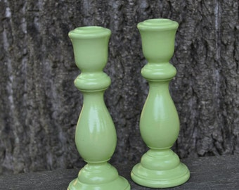 Lovely Apple Green Wooden Candlesticks  Such a wonderful way to add Color and Pop to your Home